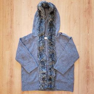 Zara - Grey Cardigan with Faux Fur Trim